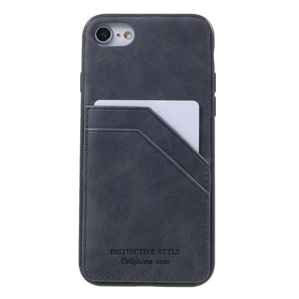 IPhone 7 / 8 mobilskal syntetläder silikon kortficka - Grå