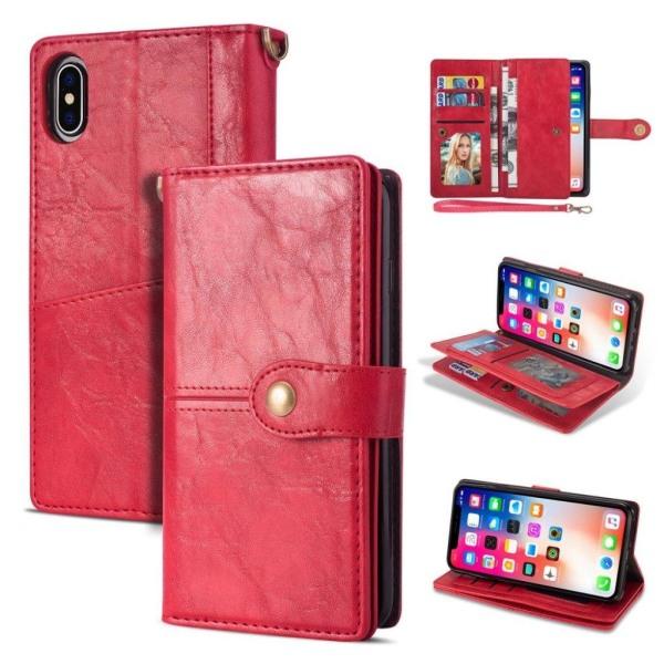 IPhone 9 mobilfodral syntetläder silikon plånbok stående - R