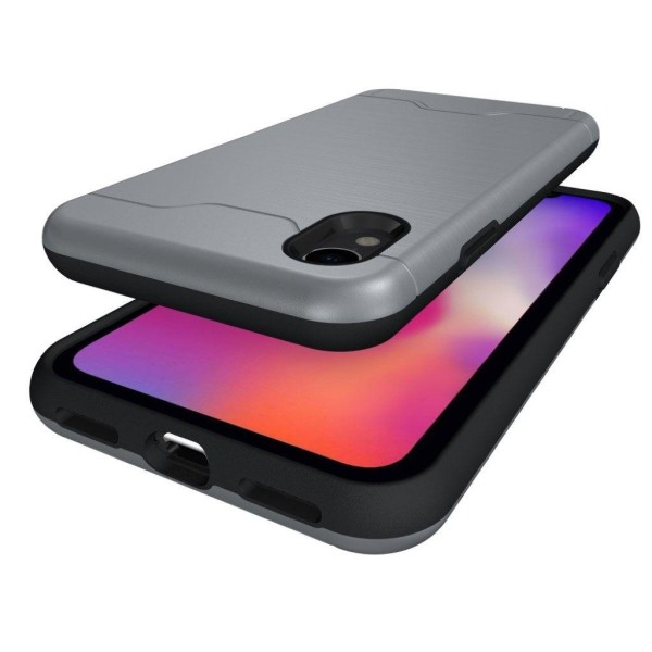 IPhone 9 mobilskal plast silikon kortficka stående - Grå