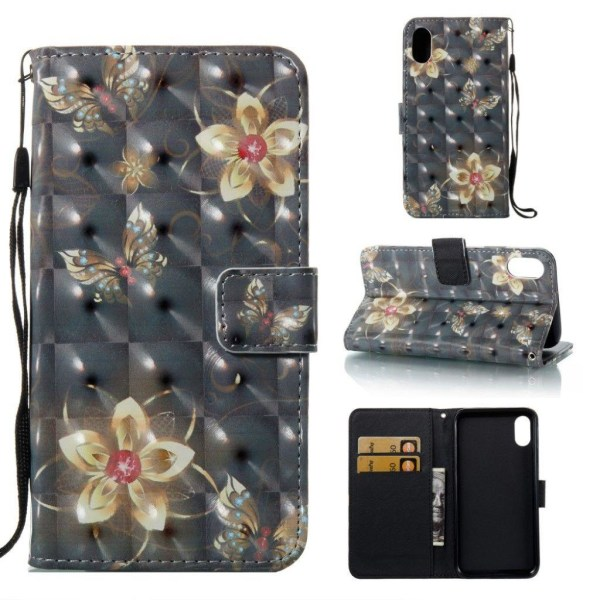 iPhone XS Max mobilfodral konstläder silikon plånbok stående