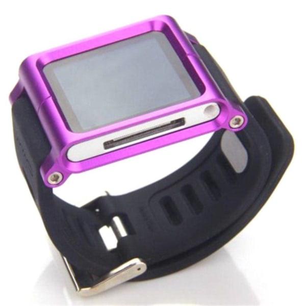 iPod Nano 6 Silikon klockband med en färgad ram - Lila