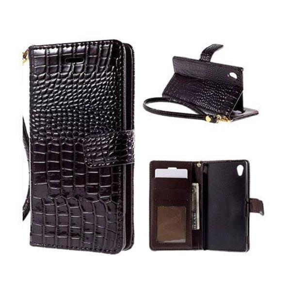 Marx Wallet Sony Xperia M4 Aqua Fodral - Ljusbrun Krokodil