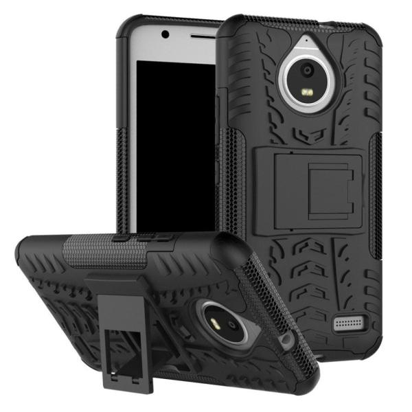Motorola Moto E4 Hybird skal med däck mönster - Svart