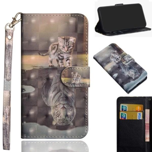 Motorola Moto E5 Play Go leather flip case - Cat and Reflect