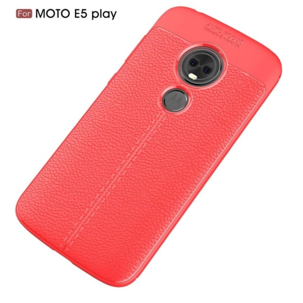 Motorola Moto E5 Play mobilskal silikon litchi textur - Röd