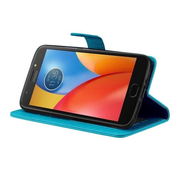 Motorola Moto G5S Enfärgat läder fodral - Blå