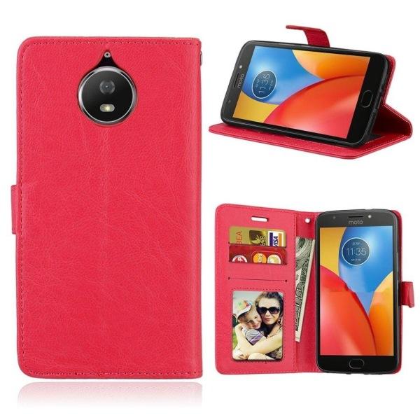 Motorola Moto G5S Enfärgat läder fodral - Röd