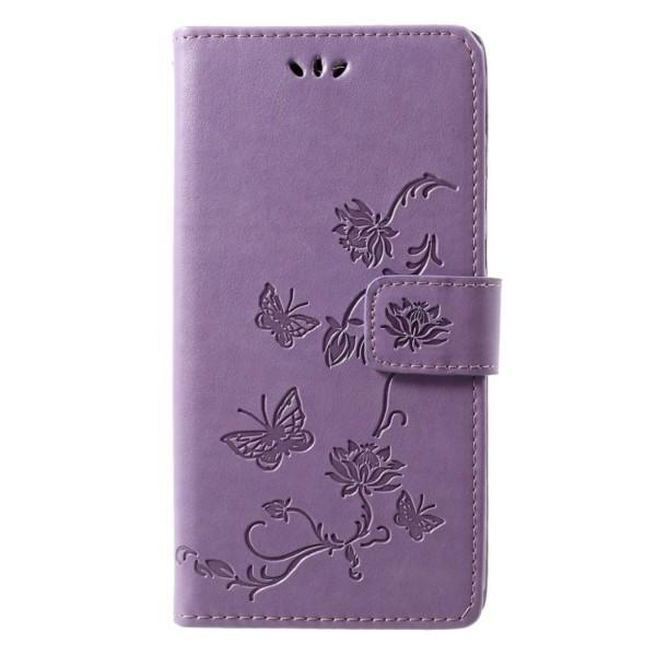 Motorola Moto G7 imprint butterfly flowers leather flip case