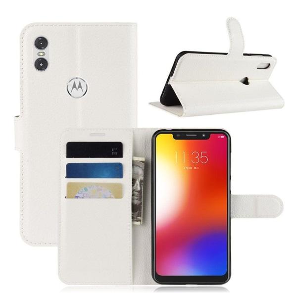 Motorola One  litchifrukts texturerat syntet läder plånboks