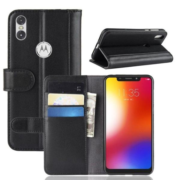 Motorola One plånboks mobilfodral av koskinns läder - Svart