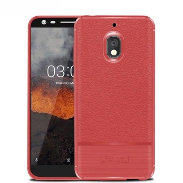 Nokia 2.1 mobilskal premium silikon litchi borstad - Röd
