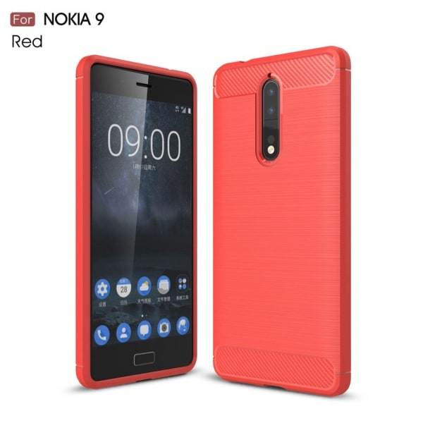 Nokia 8 Silkon skal med kolfiber design - Röd