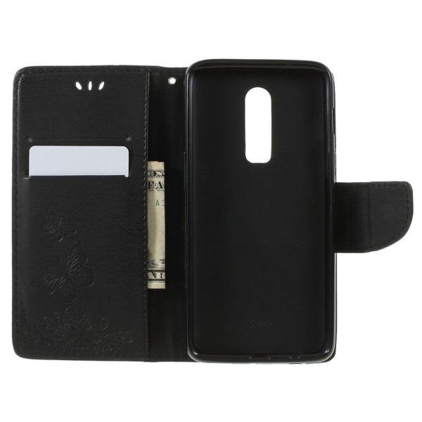OnePlus 6 mobilfodral syntetläder silikon gravyr plånbok stå