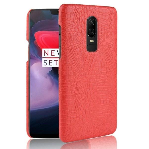 OnePlus 6 mobilskal plast syntetläder krokodiltextur - Röd