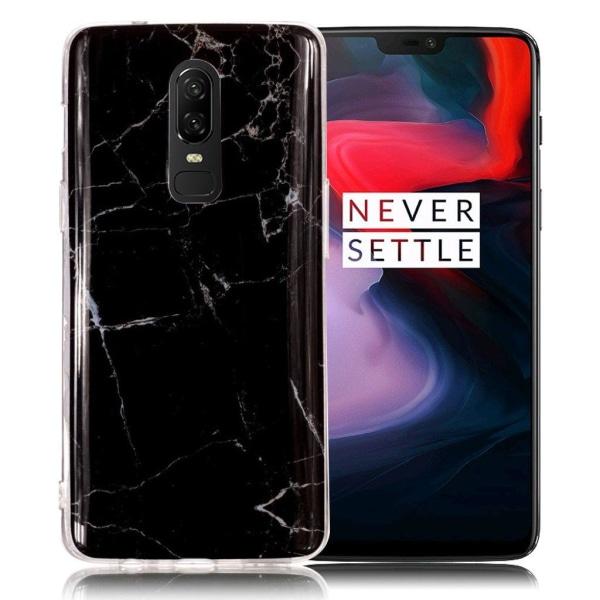 OnePlus 6 mobilskal silikon marmormönster - Svart