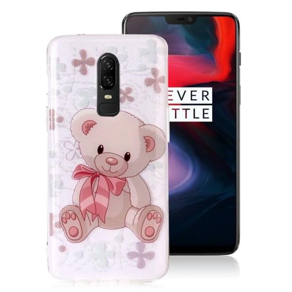 OnePlus 6 mobilskal silikon tryckmönster - Gullig björn