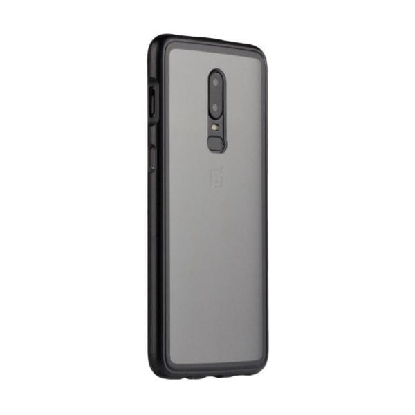 OnePlus 6 mobilskal tempererat glas metallram transparent -