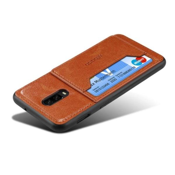 OnePlus 6T plast och silikon mobilskal med syntetläder och k