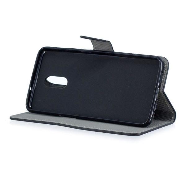 OnePlus 6T syntetläder plånboks mobilfodral med bildmotiv -