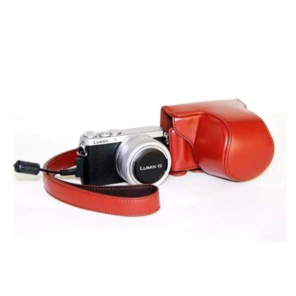 Panasonic DMC-GM1GM2 Enfärgat läder kamera skydd - Röd brun