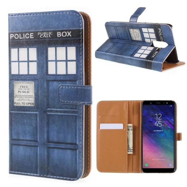 Samsung Galaxy A6+ (2018) mobilfodral PU läder plånbok ståen