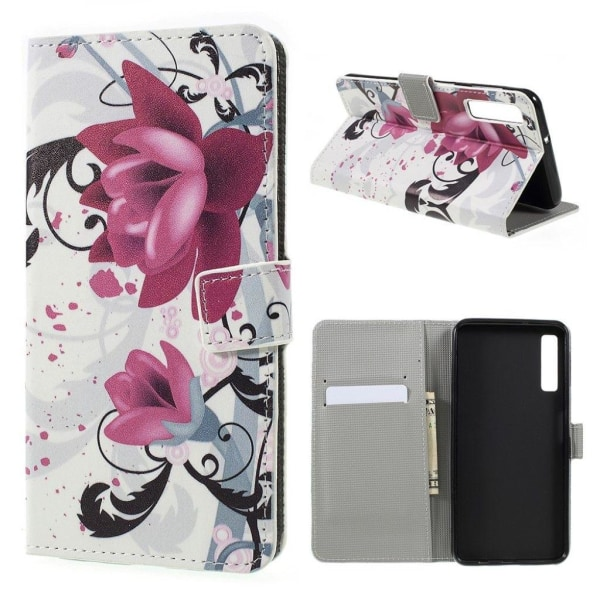 Samsung Galaxy A7 (2018) patterned leather flip case - Purpl