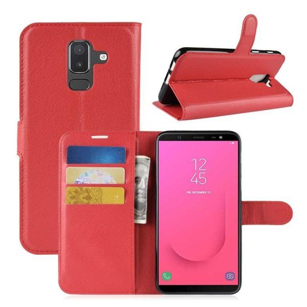 Samsung Galaxy J8 (2018) mobilfodral konstläder silikon plån