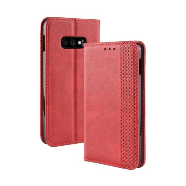 Samsung Galaxy S10e vintage style leather flip case - Red