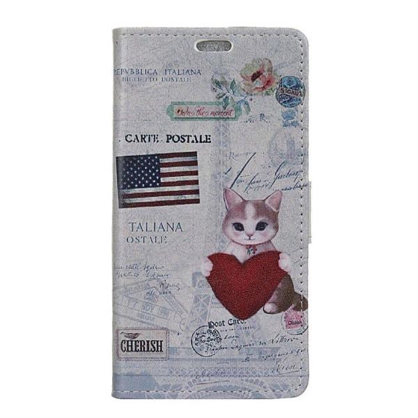 Sony Xperia L2 Fodral med inbyggd plånbok - USA katt hjärta