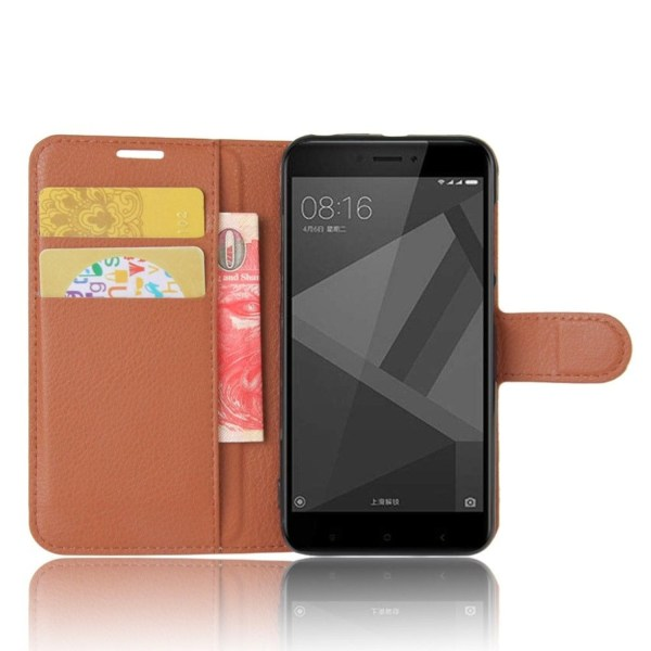 Xiaomi Redmi 4X Enfärgat fodral med plånbok - Brun