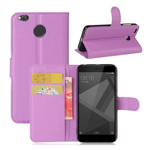 Xiaomi Redmi 4X Enfärgat fodral med plånbok - Lila