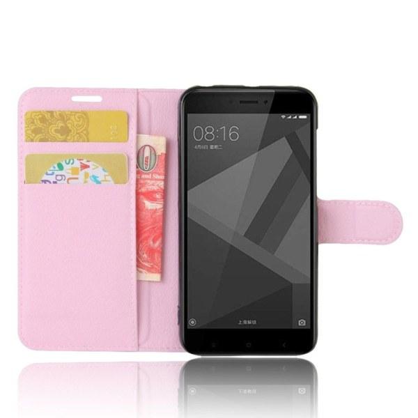 Xiaomi Redmi 4X Enfärgat fodral med plånbok - Ljus rosa