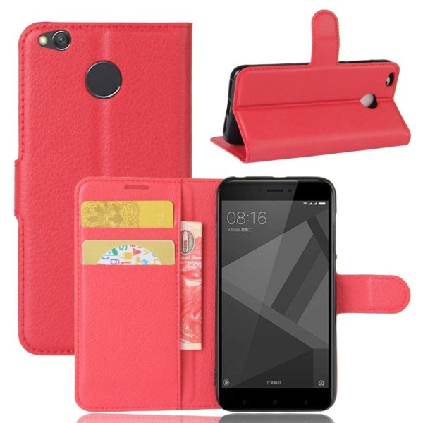 Xiaomi Redmi 4X Enfärgat fodral med plånbok - Röd