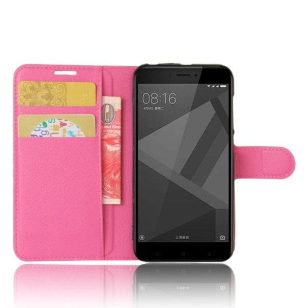 Xiaomi Redmi 4X Enfärgat fodral med plånbok - Rosa