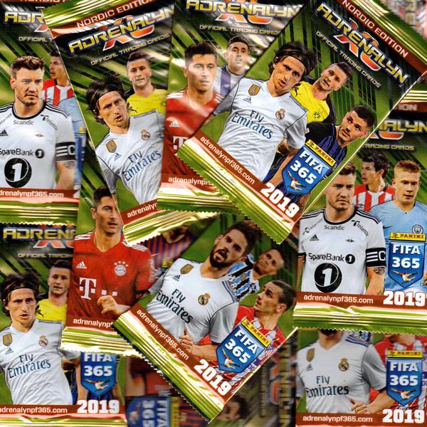 Fotbollskort Panini FIFA 365 2019 - 50 paket (Totalt 300 kort)