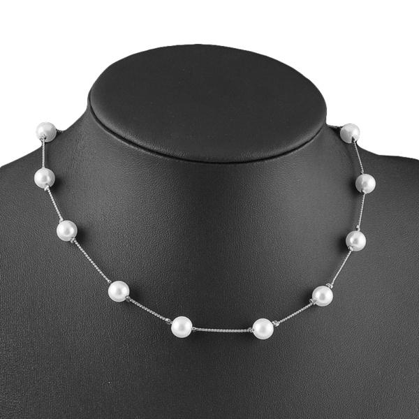 Eleganta kvinnor Faux pärla hänge ett lager kort kedja halsband