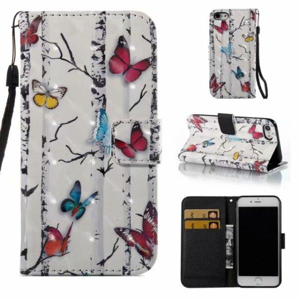iPhone 7/8 plånboksfodral wallet  3D - Tree Vit
