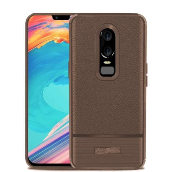 One Plus 6 skal Rugged TPU Armor - Brown Brun