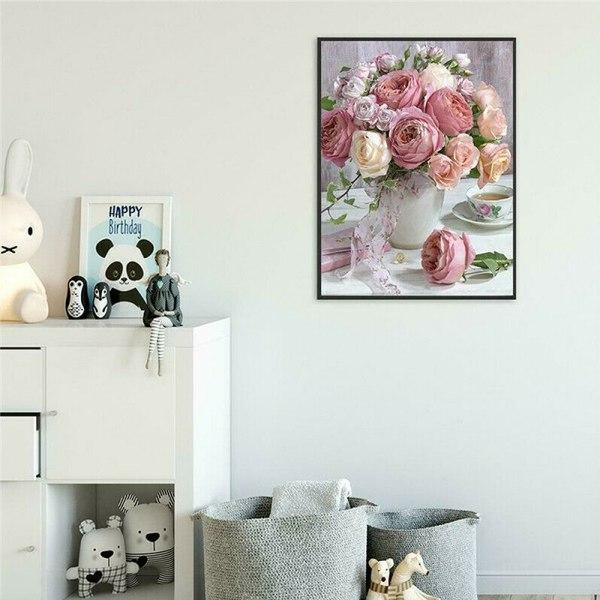5D DIY Full Diamond Painting Vintage Flower Beauty Home Decor