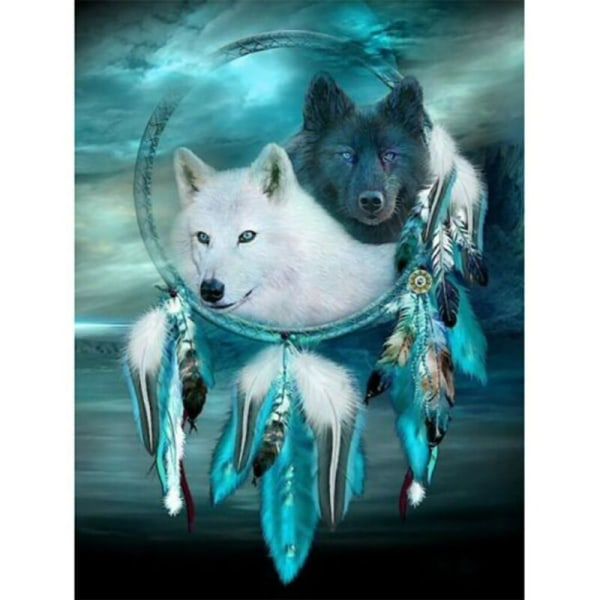 5D Wolf Dreamcatcher Diamond Painting Drill Kits Home Art Decor 30*40cm