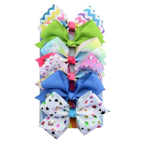 6st Flickor Ribbon Bowknot Hair Clip Unicorn multicolor