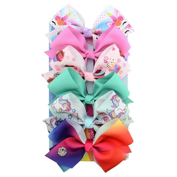 6st Flickor Ribbon Bowknot Hair Clip Unicorn