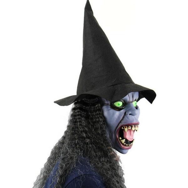 Vuxen Halloween maskerar gammalt häxalila ansikte med hatt Cosplay