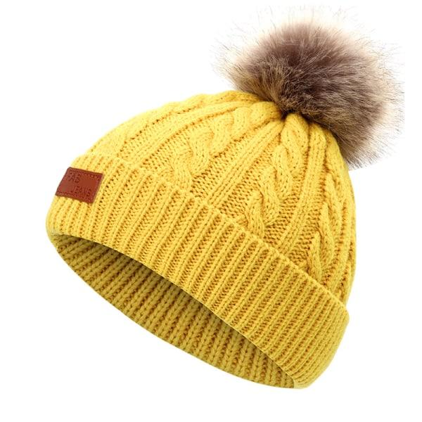 Höst Vinterpäls Pompom Barnhatt Yellow 40-50cm