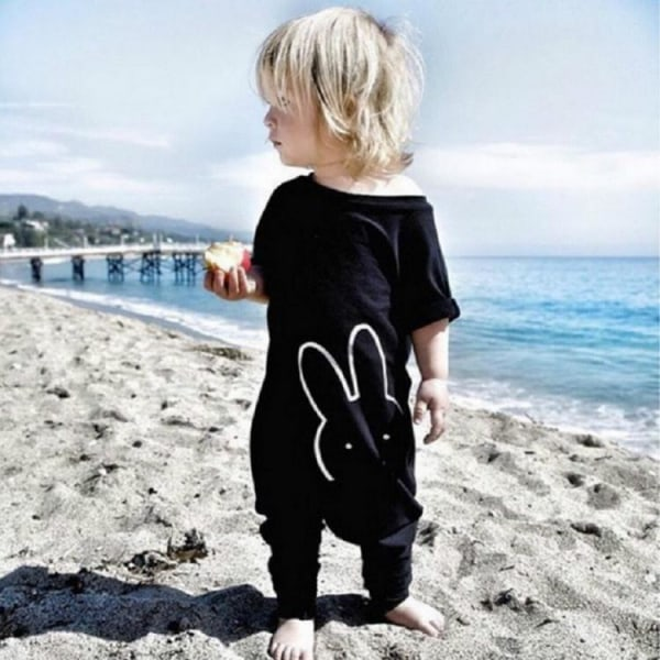 Baby Rabbit Print Short Sleeves Rompers Casual black 100 cm