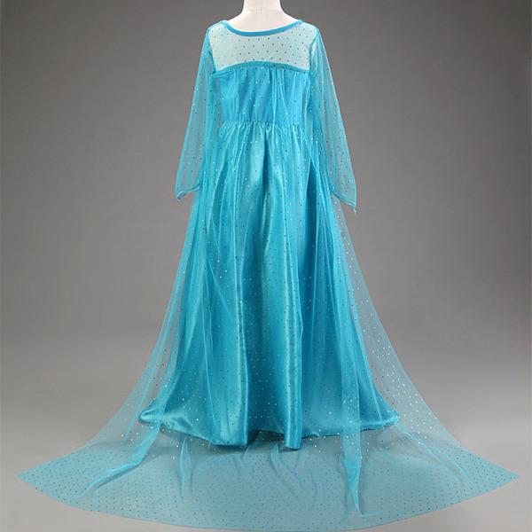Blue D Princess Dress Holloween Festivalkläder med mantel blue 120 cm
