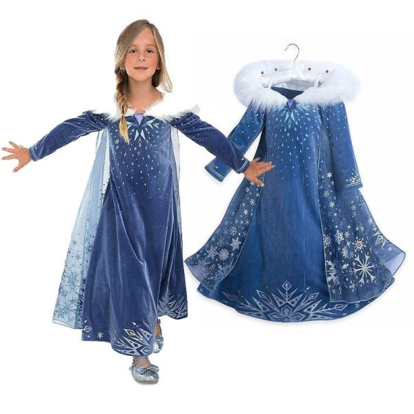 Blå snöflinga Cape Maskerad prinsessa klänning blue 120 cm