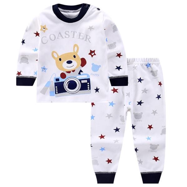 Barn baby tecknad rund hals långärmad söt pyjamas Set Camera bear 3-4 years