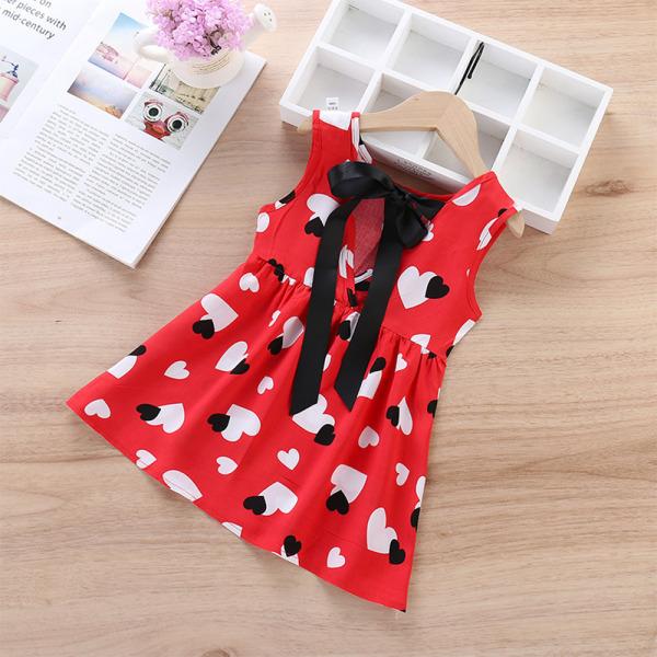 Barn Kid Girl Sommar snörning blommig kortärmad västklänning