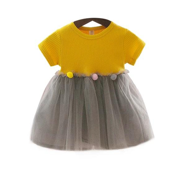 Barn Kid Girls Mesh Round Neck Dress Kortärmad Söt yellow 80cm